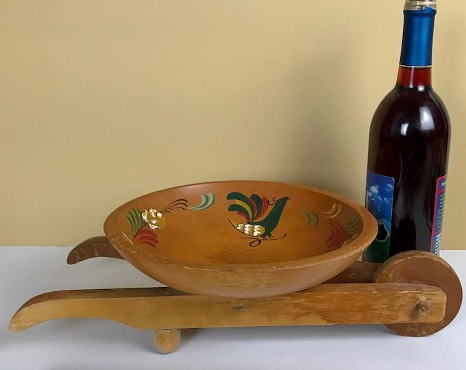 Vintage Blue Bird Dutch Folk Art Wooden Wheelbarrow Centerpiece Bowl by Woodcroftery - Mid-Century Kitsch Shabby Chic Parlor Staging Decor