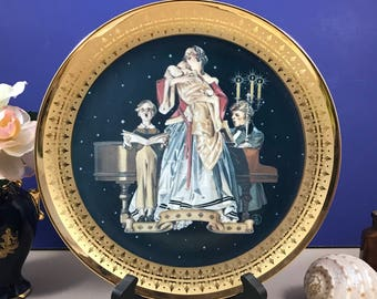 At Locksley Hall Collectors Plate - New - Porcelain & 24K Gold - Royal Cornwall Classic Collection - 1980 - Mother and Child - Edwardian Art