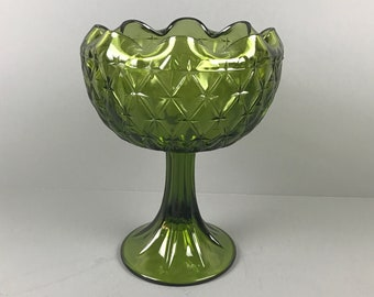 Large Vintage Green Pedestal Candy Bowl - Indiana Glass Quilted Duette or Diamond Pattern Ruffled Compote - MCM Ruffled Goblet Style Planter