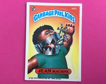 Garbage Pail Kids Sticker Card - JEAN Machine 186b - Puzzle Piece Back - 1986 Topps Trading Card - 1980's Pop Culture - 80's Collectible