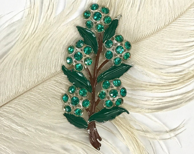 Dazzling Vintage Green Floral Statement Brooch - Enamel on Silver-Tone Flower Bouquet Pin w/ Faux Emerald Rhinestones - Mod Costume Jewelry
