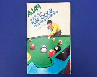 1971 Regulation Rule Book for Pool and Billiards - Ajay Enterprises - Learn to Play Pool & Billiard Games - Vintage How To Shoot Pool Book