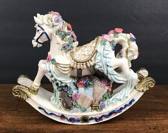 """Musical Rocking Carousel Horse Plays """"Memories"""" - Vintage White Horse Music Box Statue - Girl's Nursery or Bedroom Decor - Baby Shower Gift"""
