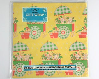 Floral Yellow & Green Retro Baby Shower Unisex Wrapping Paper- NOS Hy-Sil 8.3 Sq. Ft. Gift Wrap - Ephemera Paper Craft / Decoupage Supply