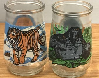 RESERVED for Kristin - Endangered Species Jelly Jars - Vintage Welch's Animal Wildlife Glass Jars - Mountain Gorilla & Siberian Tiger Jars