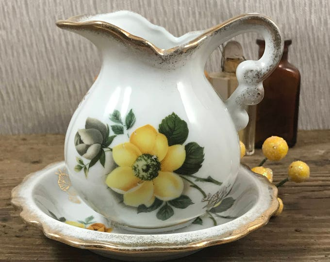 Porcelain Cream Pitcher & Saucer - Vintage Yellow Floral Miniature Pitcher and Basin - Enesco - Victorian Decor - Tea Party - Mom Wife Gift