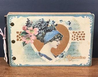 Vintage Art Nouvau Style Photo Album or Postcard Keeper - Girly Glam Hardcover Scrapbook Memory Keepsake Book - Bridal Shower Wedding Gift