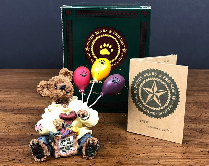 Boyds Bears Goodfer U Bear Figurine w/ Box - Bearstone Collection - Bear & Balloons Nursery Shelf Decor - Teddy Bear Birthday Cake Topper