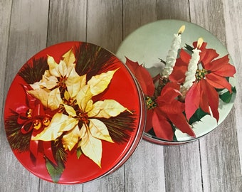 2 Mid-Century Round Christmas Tin Canisters w/ 1960's Poinsettias & Candle Photography - MCM Xmas Cookie Gift Box / Old Kitschy Decorations