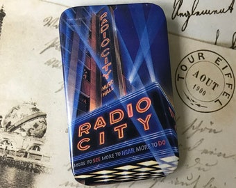 Radio City Music Hall Souvenir Pinback Button - NYC New York City Pin - Large Pin Back Button Flair - Travel Gift On Sale with Free Shipping