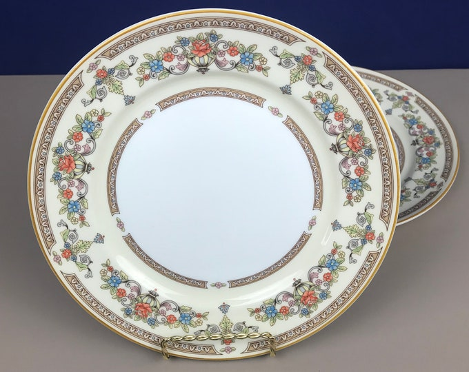 """2 Salad, Bread or Dessert 8"""" Plates  - Aynsley Devonshire Fine English Bone China - Replacement Dishes - Ivory & Gold Floral Boho Chic Style"""