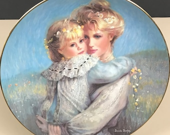 "On SALE ""Precious Embrace"" Collector Plate w/ COA by Brenda Burke - Blond Mother & Child Wall Art Decor - 1st Mother's Day Plate Series Gift"