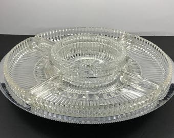 Lazy Susan Swivel Serving Set - 1960's Glass & Chrome Relish Tray / Cake Stand - Hollywood Regency Wedding Appetizer Platter - Cheese Plate