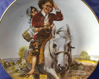 "Norman Rockwell Collectors Plate - ""Off To School"" - Classic Plate Collection - Rockwell Museum - Fine Porcelain China - Americana - Horse"