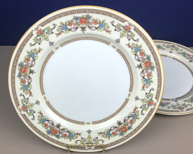 """Aynsley Devonshire 10.5"""" Dinner Plate Set of 2 - Fine English Bone China - Replacement Dishes - Ivory & Gold Floral - Boho Chic Style Dining"""