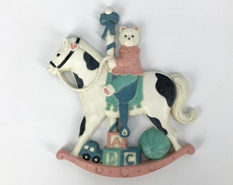 Teddy Bear on Rocking Horse Wall Hanging - Vintage Nursery Decor for Baby Girl - Pink & Blue - Alphabet Blocks - Homeco Wall Plaque - Horsey