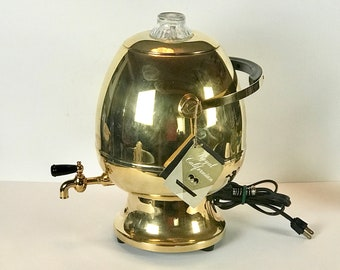 Royal Californian 24 Karat Gold Plated Electric Coffee Urn by Robeson Rochester - RARE MCM Atomic Egg Style Percolator 35 Cup Coffee Maker