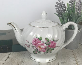 Small Teapot with Pink Roses - Vintage Tea For Two Sized China Tea Pot - Vintage Cottage Kitchen Decor - Girl's Victorian Tea Party Supply