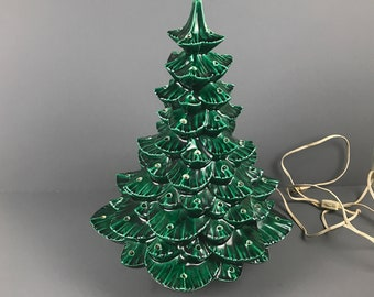 "18"" Vintage Ceramic Christmas Tree with Lamp & Music Box Base - Extra Large Working 1970's Green Light Up Tree Needs Plastic Bulbs and Star"