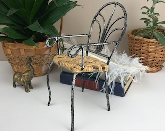 "Miniature Wrought Iron & Twine Doll Chair / Small Plant Stand - Vintage Mini Patio Chair - Barbie Size 9"" Indian Arm Chair - Rope Jute Seat"