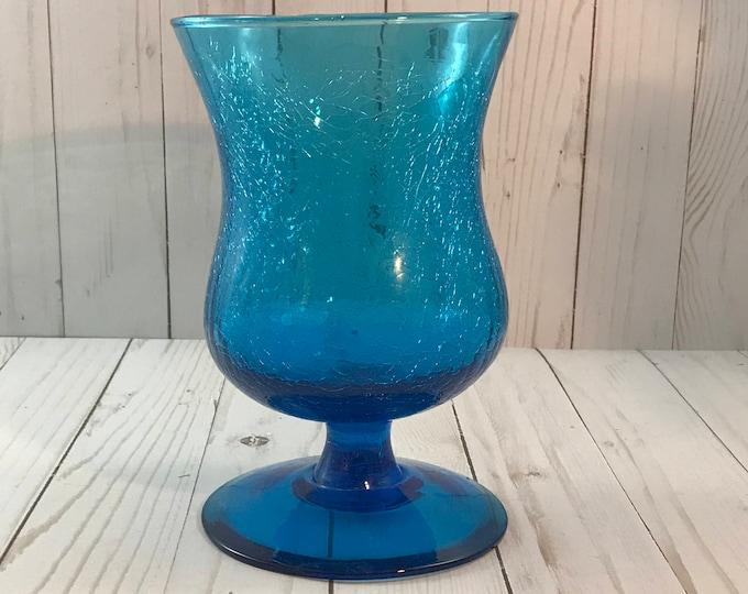 "Blue Crackle Glass Hurricane Candle Holder - 8"" Cobalt Pedestal Chalice - Vintage Blown Glass Vase - Turquoise Decor - Retro Bohemian - Boho"