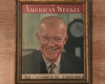 "1956 Dwight ""Ike"" Eisenhower American Weekly Cover in Vintage Frame - August 19, 1956 - Political Memorabilia - History - Magazine - Print"