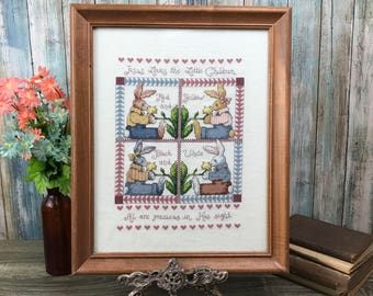 "Rabbit Cross Stitch Wall Hanging Framed - ""Jesus Loves The Little Children"" Picture - Easter Bunny Needlepoint Art - Christian Nursery Decor"