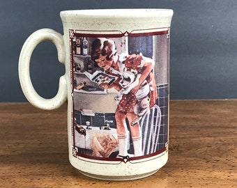 Watkins 1935 Almanac Coffee Mug Made in England - Little Girl & Puppy Playing Dog Vet w/ Book Stoneware Coffee Cup - Cute Collectible Mug