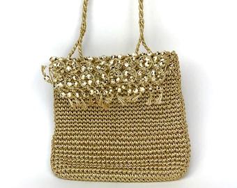 Vintage Gold Formal Purse by Walborg - 1960's Woven Metallic Jute Evening Bag w/ Bead Fringe - Prom - Special Occasion Handbag - Boho Chic