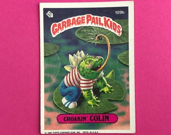 Garbage Pail Kids Sticker Card - CROAKIN' COLIN 109b - Puzzle Key Back - 1986 Topps Trading Card - 1980's Pop Culture - 80's Funny Gag Gift