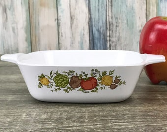 Corning Ware Petite Baker - Spice of Life 1-3/4 Cup Casserole Pan - P-41-B Dish - Small Souffle Pan - Corning Vegetable Pattern - Small Pan