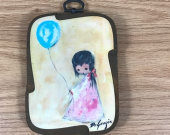 "DeGrazia's ""Balloon"" Wood Plaque - 1960's Small Ettore ""Ted"" DeGrazia Wall Art Hanging -  Vintage Nursery Decor - Wooden Laminated Print"