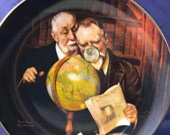 "Norman Rockwell Collectors Plate - ""Newfound Worlds"" - Golden Moments Collection - Certificate - Knowles - Fine Porcelain China - Americana"