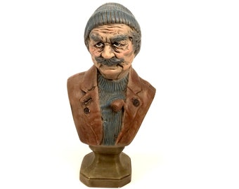 Vintage Sea Captain Bust - Old Man Fisherman Statue - Nautical Lake House Cabin Decor - Man Cave Mantle - Salty Dog - Fishing Gift for Dad