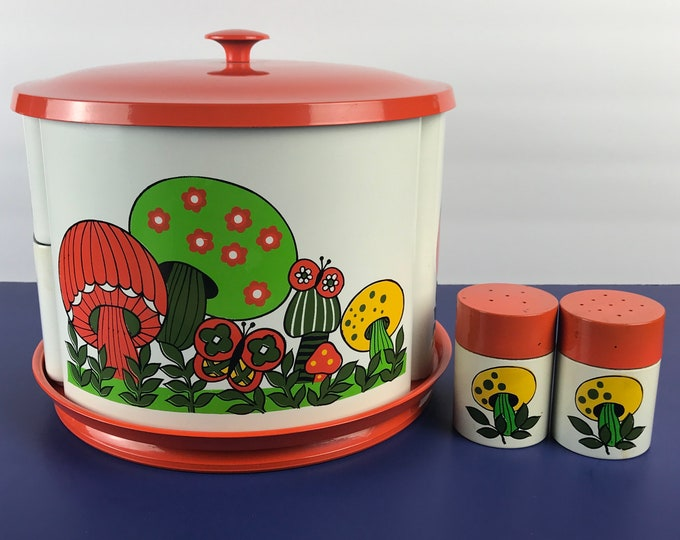 Featured listing image: Funky Retro Revolving Mushroom Canister Set and Salt & Pepper Shakers - 1960s MCM Mushrooms Revolving Metal Lazy Susan Kitchen Canisters Lot