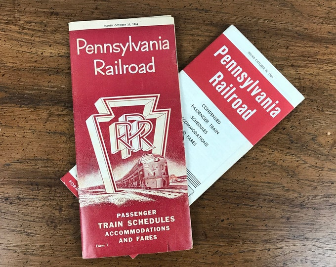 1964 Brochures Pennsylvania Railroad Passenger Train Schedules Accommodations and Fares - 2 1960's Railway Travel Advertisement Pamphlet