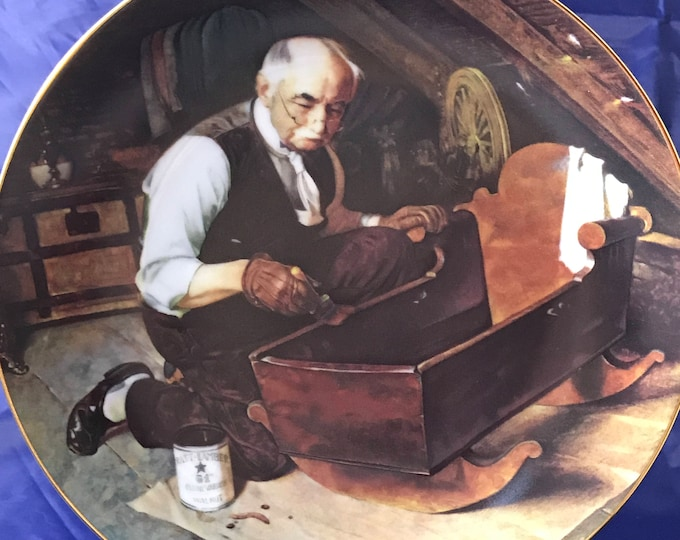 "Norman Rockwell Collectors Plate - ""Grandpa's Gift"" - Golden Moments Collection - Certificate - Knowles - Fine Porcelain China - Gift"