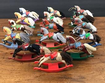15 Hallmark Collector Series Rocking Horse Ornaments 1981 to 1995 includes Rare 1st Horse Ornament in Hallmark Set - 1982, 1983, 1984, 1985