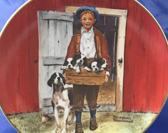 "Norman Rockwell Collectors Plate - ""Puppy Love"" - Classic Plate Collection - Rockwell Museum - Fine Porcelain China - Americana - Farm Decor"