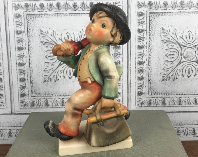 """6"""" Merry Wanderer Goebel Hummel Figurine TMK-3 Stylized Bee W. Germany Marking 1960's Era - German Boy w/ Bag & Umbrella Collectible Figure"""