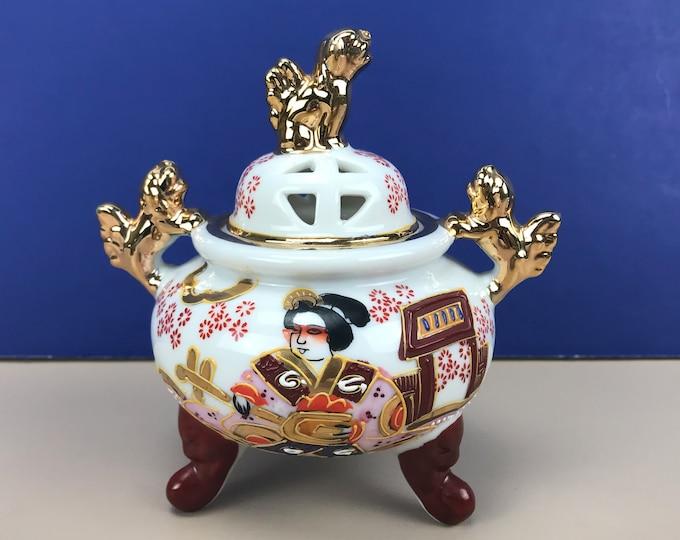 Antique Cone Incense Burner - Japanese Satsuma Moriage Censer Bowl w/ Lid - Gold Foo Dogs - Altar Incense Holder - Asian Zen Home Decor Gift