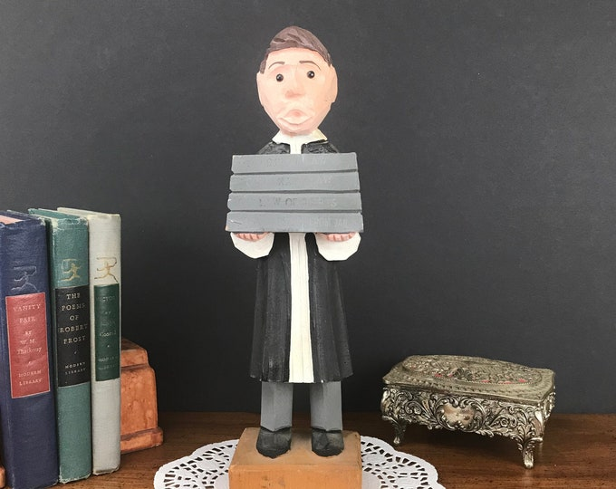 Carved Wood Law Student Statue - Vintage Handmade Lawyer Figurine -  Barrister Judge Statuette - Law Office Decor - College Graduate Gift