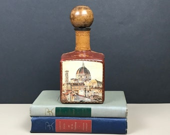 Vintage Leather Wrapped Liquor Bottle - Petite Mid Century Italian City Scene Decoupage Wine Decanter & Wood Top Cork - French Country Decor