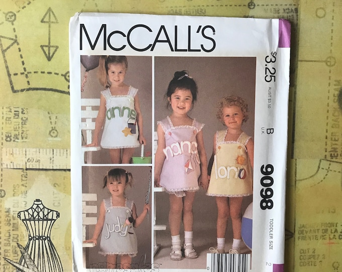 Toddler Size 2 McCall's Namesakes Sundress & Panties UNCUT / Unused Sewing Pattern Complete - Sew Personalized Jumper Dress w/ Bloomers 9098