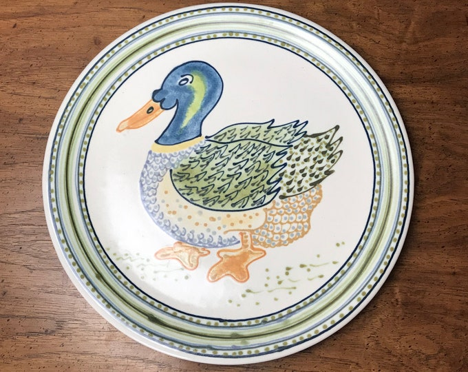 "14"" Large Rothwoman Stoneware Mallard Duck Serving Plate - Janet Rothwoman Signed Hostess Tray - 1970's Folk Art / Bohemian Farmhouse Decor"