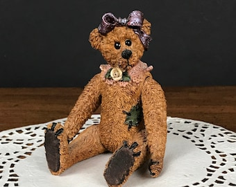 Boyds Bears Gertrude Grizberg Jointed Figurine - Vintage Movable Boyds Bear - Baby Girl Teddy Bear Nursery Shelf Decor - Shoe Box Family Mom