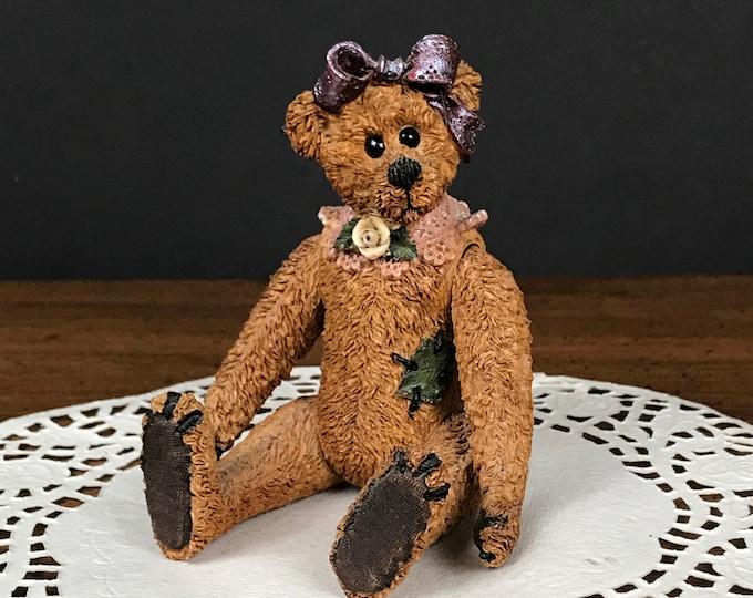 Boyds Bears Gertrude Grizberg Jointed Figurine - Vintage Movable Boyds Bear - Baby Girl Teddy Bear Nursery Shelf Decor - Shoe Box Family Mom