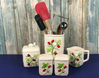 Vintage Strawberry Basket Weave 5 pc. Kitchen Set - Utensil Holder, Creamer, Sugar Bowl, Salt & Pepper Shakers - Otagiri Strawberries Decor