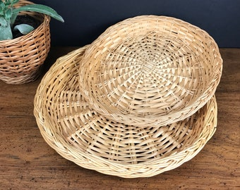 "2 Wicker Rattan Round Trays - 10"" & 12"" Serving Plates - Bohemian Dining Tablescape - Wicker Wall Decor - Outdoor Picnic / Wedding Trays"