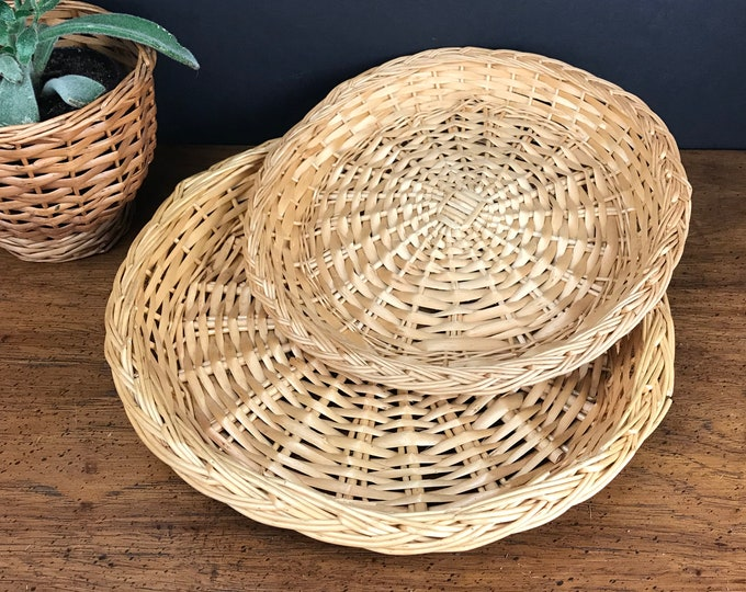 """2 Wicker Rattan Round Trays - 10"""" & 12"""" Serving Plates - Bohemian Dining Tablescape - Wicker Wall Decor - Outdoor Picnic / Wedding Trays"""